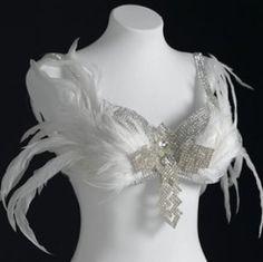 Beautiful White Feathers and Rhinestones