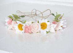 Felt Floral Flower Crown  Pretty Pastels  by SugarSnapBoutique