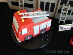 Fireman Birthday Party | Fireman truck cake | Fire engine cake