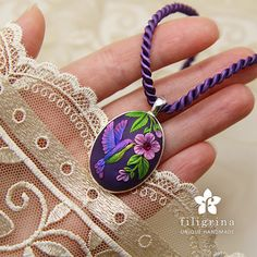 Purple COLIBRI pendant, hummingbird and flowers, silver tone oval metal bezel, 30x23 mm, polymer clay / SOLD