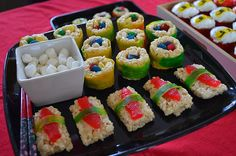rice krispie sushie dessert  our Pinterest inspired Ninjago party