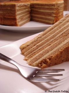 "Spekkoek (Dutch Indonesian-style Layered Spice Cake  This is called ""bacon""-cake due to the typically layers"