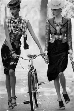 fashion | editorial | hats | elegant | walking | bike | glamourous |