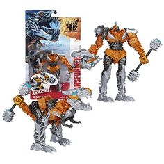 Hasbro Year 2014 Transformers Movie Series 4 'Age of Extinction' Power Attacker 5-1/2 Inch Tall Robot Action Figure - Autobot GRIMLOCK with Spinning Mace (Beast Mode: T-Rex) -- You can find more details by visiting the image link.(It is Amazon affiliate link) #likeall