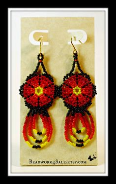 Huichol Chaquira Style Flower Earrings Handmade by Beadwork4Sale, $22.00