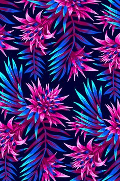 Tropical floral print design inspired by the beautiful flowers of the Aechmea Fasciata plant, combined with palm leaves.