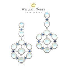 Moonstone, diamond and sapphire earrings with more than 60 carats of moonstone, 5 carats of diamond earrings and 1.5 carats of blue sapphires. #moonstone #birthstone #junebirthstone