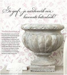 Bijdrage van verftechnieken.nl aan de ariadne atHome brocantespecial ♥ DIY #betonlook op tuinpot