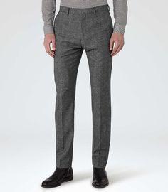 Mens Grey Wool Melange Trousers - Reiss Bronte T Groomsmen Suits, Mens Suits, Best Pants For Men, Cool Outfits, Fashion Outfits, Fashion Line, Men's Fashion, Best Mens Fashion, Sports Jacket