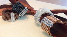 ORIGINAL JEWELRY Flexible rings with silver and zircon charm.  Anelli elastici in maglia di acciaio con piastrina in argento e zirconi.