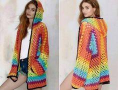 Crochet Hexagonal Hooded Cardigan Free Pattern