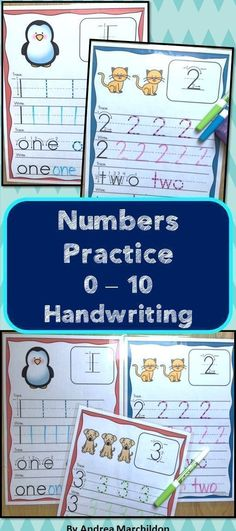 Handwriting Practice for Numbers 0 - 10!  Great to add to your math centers.  Preschoolers, Kindergarten, and First Graders can benefit from these number mats!