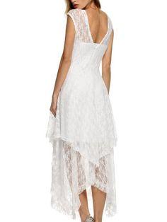 ACEVOG Women's Sexy Sleeveless Floral Lace Tiered Long Irregular Party Dress: Amazon Fashion