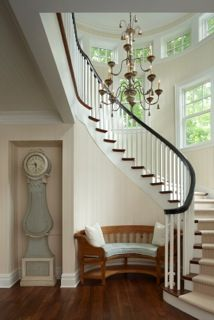 The Cottage Company Harbor Springs- curved bench fit into curve of wall