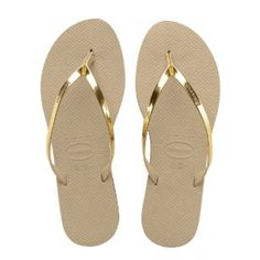 Metallic Sand Grey Light Gold You Flip Flops ($36) ❤ liked on Polyvore featuring shoes, sandals, flip flops, havaianas sandals, leather flip flops, metallic shoes, leather shoes and leather strap sandals