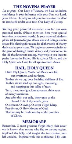 Novena prayers to Our Blessed Mother, Our Lady of Victory Prayer Verses, Faith Prayer, Prayer Quotes, My Prayer, Bible Verses, Prayers To Mary, Novena Prayers, Special Prayers, Catholic Prayers Daily