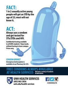 UNH Health Services provides free condoms and lubrication to UNH students to protect against STIs, HIV and pregnancy