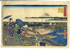 Hiroshige (1797-1858). 歌川廣重(1797年-1858年10月12日)是日本浮世繪畫家。出身於江戶(现东京)的一個消防員家庭,1811年他在江户成为浮世绘大师歌川丰广的学生。他于1833~1834年间的55幅风景画系列《东海道五十三次》确立了他作为有史以来最受欢迎的浮世绘画家之一的地位。由于对他的人物风景画需求太多,大量制作降低了风景画的质量。他创作了5000多幅画,还从他的一些木刻作品上复制出了1万幅。他的天赋最先被西方的印象派和后印象派画家认同,广重也从他们那里受到了很大的影响。