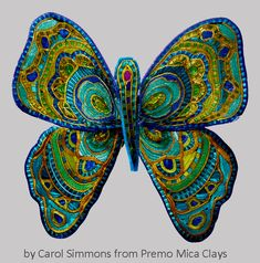 Caned butterfly from Premo mica clays by Carol Simmons