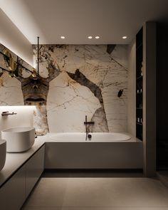 MOPS / The Brick jessghing ⭐️ Bathroom Interior Home Marble Lighting Grand Design Minimalist Minimalism Neutral Marble Bathroom Floor, Master Bathroom, Master Baths, Marble Bathrooms, Small Bathroom, Farmhouse Bathrooms, Zen Master, Boho Bathroom, Bathroom Mirrors