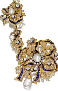 GOLD, DIAMOND, PEARL AND ENAMEL NECKLACE, CIRCA 1850 The center portion composed of five interlocking plaques designed as floral clusters and ribbons, completed by a line of gold scroll links at the back, set with numerous old-mine and single-cut diamonds, 5 semi-baroque button pearls measuring approximately 7.5 to 6.5 mm. and a baroque pearl drop measuring approximately 16.5 by 10.4 by 7.5 mm., the ribbons accented with royal blue enamel, length 18½ inches, plaques and back segment…