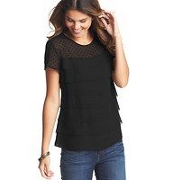 Dot Tiered Tee - A sheer dotted yoke and sleeves meets cascading tiers - for a laid-back luxe result. Scoop neck. Short sleeves. Banded neckline. Keyhole detail at back neck with button closure.