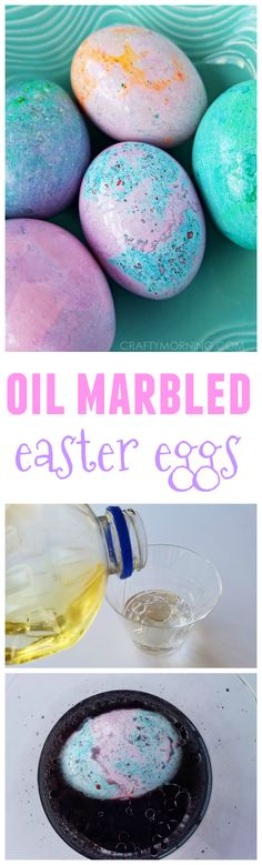 So neat!! Oil marbled easter eggs...a fun way for the kids to decorate.