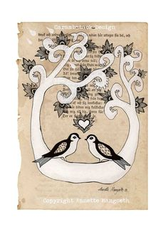 Forever yours  Art print A4 size   Birds in love  por carambatack