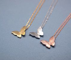 Romantic Butterfly pendant necklace in matte gold / silver / rose gold
