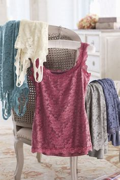 Lovely Lace Cami - Scalloped Edged Scoop Neckline Cami, Fashion Accessories, Clothing | Soft Surroundings