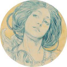 portrait-of-a-young-woman-alphonse-mucha.jpg (900×900)