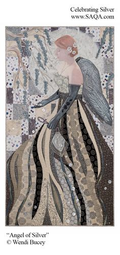 """Angel of Silver"", 70 x 39"",  art quilt by Wendi Bucey 