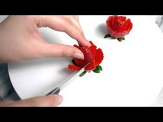 I love making strawberry roses because they're incredibly beautiful, edible (sugar flowers taste terrible) and really easy to make. This is a step by step picture tutorial for all those on in… Kiwi, Fruit Presentation, Strawberry Flower, Food Art For Kids, Food Carving, Fruit Decorations, Rose Tutorial, Food Garnishes, Creative Food Art