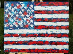 I love playing with pallet knives. Check out Gail McCann's newest artwork: American Flag USA Original Abstract Painting on Canvas Red Canvas Frame, Canvas Size, Cute Canvas Paintings, Flag Painting, God Bless America, American Flag, Knives, Pallet, Original Artwork