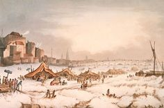 Historical chiller: The frozen River Thames in 1814 is thought to have been part of the Dalton Minimum which ran from 1790 to 1830