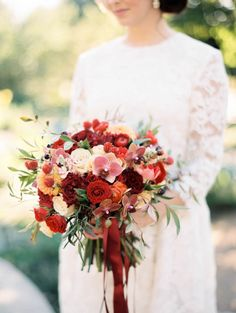 Romantic + colorful fall wedding bouquet: http://www.stylemepretty.com/2015/12/14/european-inspired-garden-wedding-shoot/ | Photography: Kristin La Voie - http://kristinlavoiephotography.com/