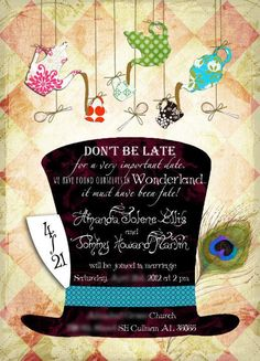 www.craftylilmomma.com - Alice in Wonderland / Mad Hatter Tea Party inspired wedding invitation