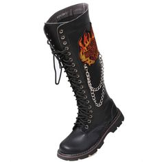 Gothic Breathable Botas Bandage Emo Round Toe Sequined Riding Mens Winter Slim Motorcycle Boots Rock Knee High Fashion Chains