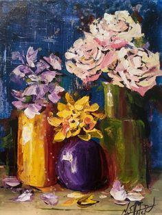 Cut flowers palette knife painting #jeweltones #paint #flowers #nicoleslaterart