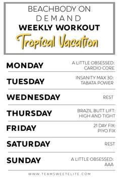 Beachbody On Demand Weekly Workout - Tropical Vacation: Try this handy 7-day routine to amp up your cardio routine and accelerate your fat burning!