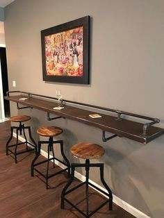 """Industrial Black Pipe Drink/Bar Rail with 3 Shelf Support Brackets """"DIY"""" Parts Kit - Use Your Own Wood Top -Sale Ending Soon! Industrial Black Pipe Drink Rail With Shelf Support Brackets DIY hardware parts kit **Wood top is n Shelf Support Brackets, Shelf Supports, Mini Bars, Basement Makeover, Basement Renovations, Drink Bar, Pool Table Room, Pool Table Games, Pool Tables"""