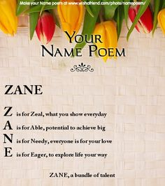 Acrostic Name Poem, Acrostic Poem For Your Name