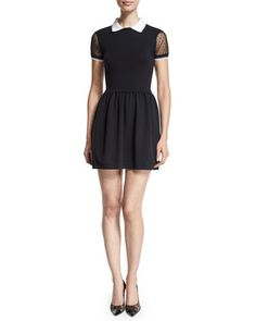Lace-Sleeve Fit-&-Flare Dress, Black by RED Valentino at Neiman Marcus.