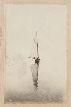 dame-de-pique:  Sailing boat with reflection on water, 1900                                                                                                                                                                                 More