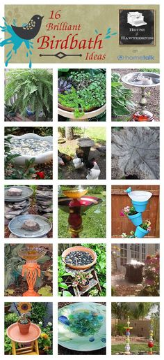 Over 15 different birdbath ideas for your home and garden including quick and easy DIY projects.