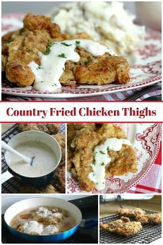Country Fried Chicken Thighs Crispy, moist and easy fried chicken with creamy mashed potatoes is a great comfort meal. It begins with boneless chicken thighs cooked in a skillet. Fried Chicken Thighs Boneless, Fried Chicken Thigh Recipes, Country Fried Chicken, Chicken Thighs Dinner, Chicken Thights Recipes, Chicken Recipes, Chicken Meals, Keto Chicken, Chicken Thigh Casserole