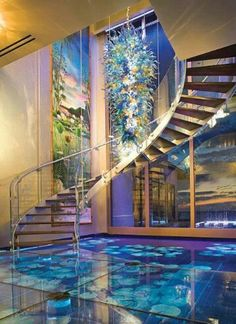 Million dollar dream home with aquarium in floor and walls!