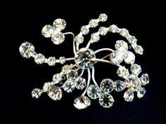 Vintage Fantastic Silver Tone Metal Clear Crystal Flower Burst Pin Brooch | eBay