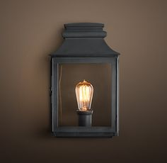 "Vintage French Gas Lantern Sconce - Weathered Zinc219 - $279 DIMENSIONS Small: 7""W x 5""D x 13""H"