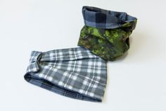 "Set of 2 (two). Baby ""Infinity Scarf"" Drool Bibs. In ""Green Camouflage"" & "" B 'n W Plaid"". By Mommy Can Sew, on Etsy"